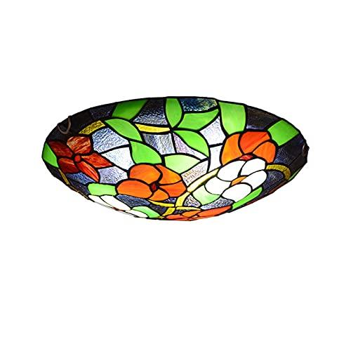 Lámpara de techo estilo Tiffany montaje empotrado, lámpara de techo con pantalla de vitrales de forma redonda iluminación para habitación de niños, cocina, dormitorio, sala de estar, pasillo,40CM