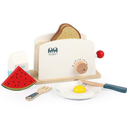JIACUO Kitchen Pretend Play Toy Simulación Tostadora de Madera Bread Maker Educación temprana