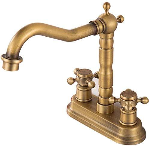 Küchenarmatur im Antik-Look, Messing, Retro, Doppelloch, doppelter Griff, für Badezimmer, Armaturen für Teich, schwarz, Mischpult