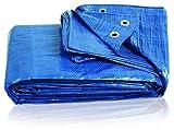 MCM XL - Lona de lona azul 3,5 m x 5,4 m (11 pies x 17 pies) – Impermeable al aire libre Den Pesca Camping cubierta de suelo cubierta para tienda de campaña Muebles