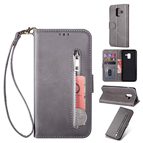Find Bargain Zipper Wallet Case with Black Dual-use Pen for Samsung Galaxy A6 2018,Aoucase Money Coi...