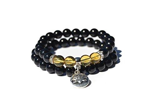 Bracelet Black Agate and Citrine Quality AAAAA, semiprecious Natural Stone Beads for Women Men Ideal Yoga Reiki Chakra Meditation