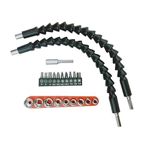 Extensión de brocas de destornillador flexible, 22 piezas, juego de extensor de brocas para chasis de ordenador, armarios eléctricos, muebles, etc.