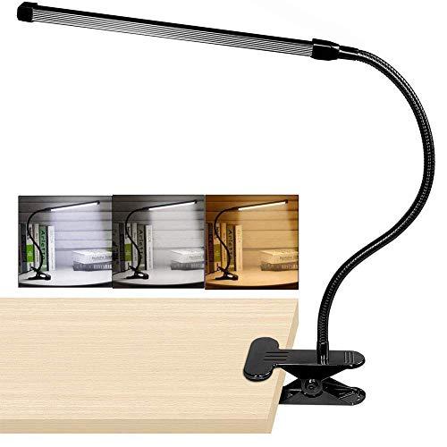 ZGQA-lámparas de Escritorio Clip 8W LED en la lámpara, de Escritorio Ligera con 3 Modos Cable 2m Dimmer 10 Niveles Abrazadera de Mesa Lights
