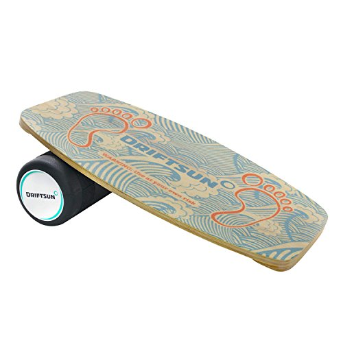 Driftsun Wooden Balance Board Trainer - Roller Included, for Surfing, Snowboard, Skateboarding, Wakesurf, Wakeskate, Ski, SUP and Other Sports Practice, Premium Fitness Stability Equipment