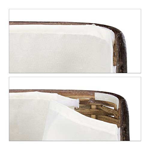 Truhe 2er Set geflochten Rattan eckig H x B x T: 26 x 50 x 29,5 cm stapelbare Korbtruhe mit herausnehmbarem Innenfutter waschbar ca. 28 L Rattantruhe atmungsaktiv und dekorativ, rotbraun - 4