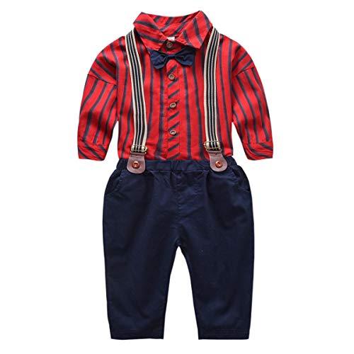 DaMohony gestreiftes Hemd für Kinder + Hosenträger für Herren Fliege für Kinder 0-6 Jahre rot schwarz, 1248960/120814ESHJS, Rot, 1248960/120814ESHJS 120 cm