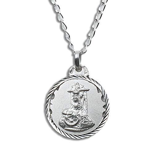 Casa de la Medalla - Medalla Religiosa Virgen de la Angustias 20 mm con Cadena Bilbao 40 cm de Longitud en Plata de Ley 925 milésimas