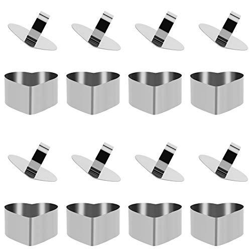 Veraing 8 Stück Edelstahl Dessertring, Edelstahl Dessert Ring Set Dessertringe Kuchenringe Dessert Ring Set mit Heber & Stampfer