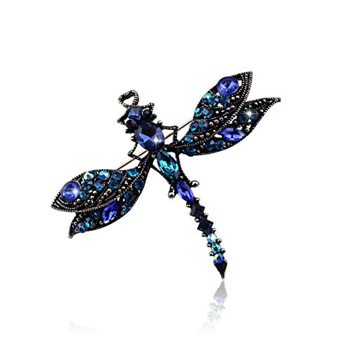 N/W Brooches For Women Ladies Royal Blue Crystal Dragonfly,Peacock Bronze Plated, Gift Jewellery Brooch Pins