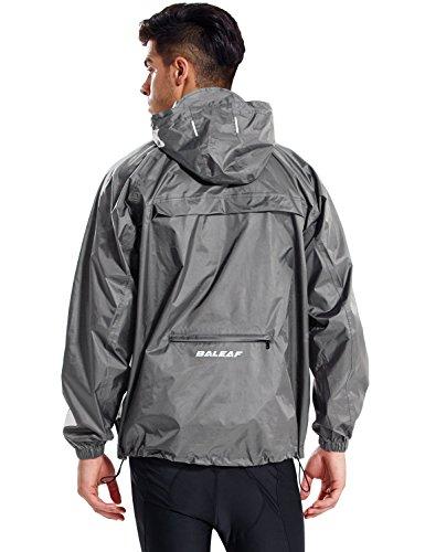 BALEAF Unisex Regenjacke Einpackbar Wasserdicht Wetterschutz Jacke mit Kapuze Poncho Regenmantel Grau XL