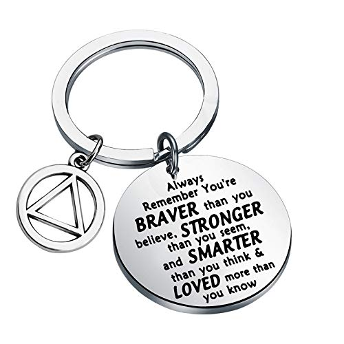 AA Recovery Keychain Sobriety Gift Alcoholics Anonymous Gift AA Sober Recovery Jewelry AA Sobriety Gifts You are Braver Stronger Smarter Than You Think Inspirational Gifts (keychain)