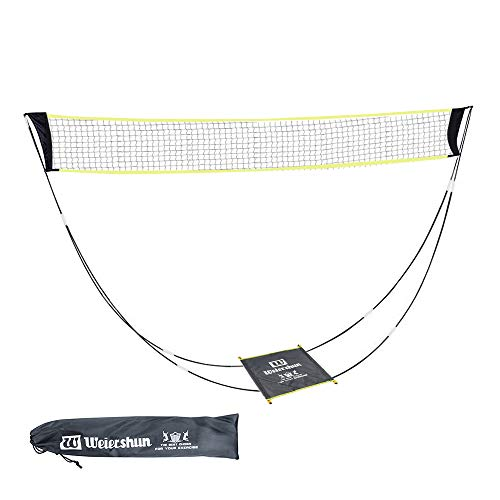 KIKILIVE Portable Badminton Net with Stand Carry Bag, Folding Volleyball Tennis Badminton Net – Easy Setup for for Outdoor/Indoor Court, Backyard, No Tools or Stakes Required