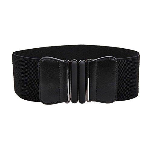 MagiDeal Donne Modo Signore Cintura In Vita Ecopelle Fibbia Elastica Larga - Multicolore - Nero, taglia unica