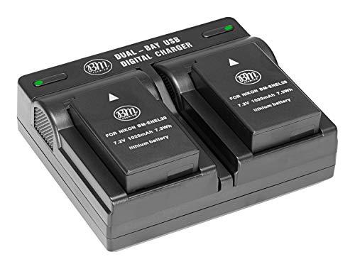 BM Premium Pack of 2 ENEL20, EN-EL20a Batteries and USB Dual Battery Charger for Nikon Coolpix P950, P1000, DL24-500, Coolpix A, 1 AW1, 1 J1, 1 J2, 1 J3, 1 S1, 1 V3 Digital Camera