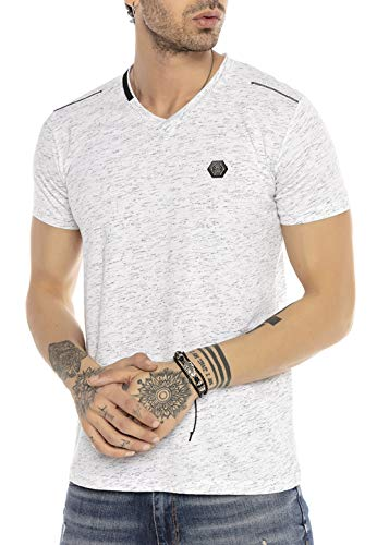Redbridge T-Shirt da Uomo a Manica Corta con Scollo a V Contrast Storm Bianco L