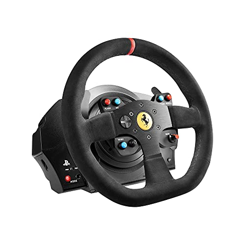 Thrustmaster T300 Ferrari Integral Alcantara Edition - Volante para PS4/PS3/PC - Force Feedback, 3 pedales - Funciona con juegos de PS5
