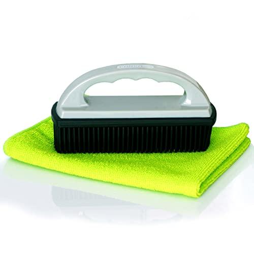 CAREApro ¨ Rubber Brush + Reinigungstuch - Tierhaarentferner - schnell & einfach Hundehaare entfernen - Hundehaarentferner - Auto Polsterbürste