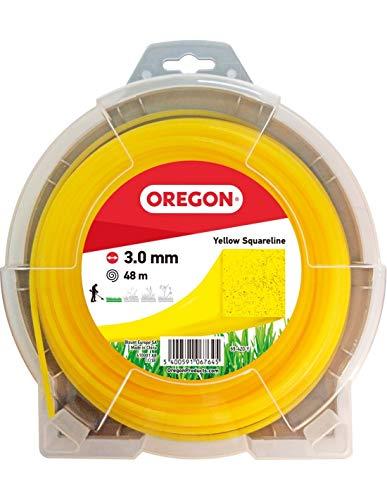 Oregon 69-420-Y Hilo Cuadrado Amarillo para cortadoras de césped y desbrozadoras, 3,0 mm x 48 m, 3.0mm x 48m