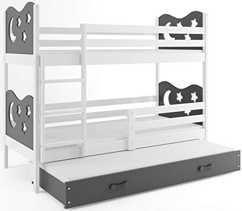 Interbeds Etagenbett Miko 3 (für DREI Kinder) 160x80cm Farbe: Weiβ + 2. Farbe zur Wahl; mit Matratzen und Lattenroste (grau)