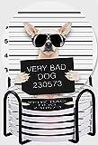 CIKYOWAY Posavasos para Bebidas,Gracioso Pug Lindo sosteniendo un Cartel Mientras se Toma una Foto policial Juego de 6 Posavasos absorbentes con Soporte de Metal,para Casa Restaurante Y Bar