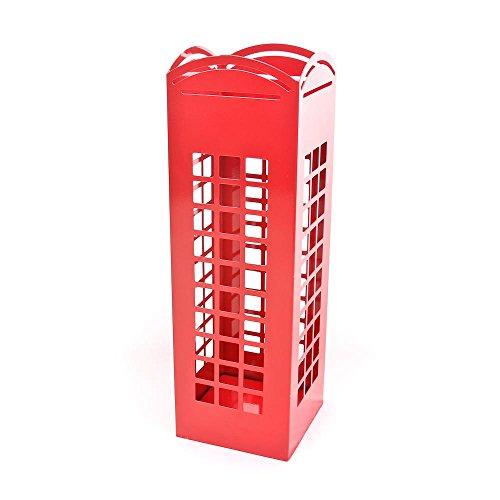 Ckb Ltd, porta ombrelli a forma di cabina del telefono londinese, in metallo, autoportante, utilizzabile anche come porta bastoni, colore rosso