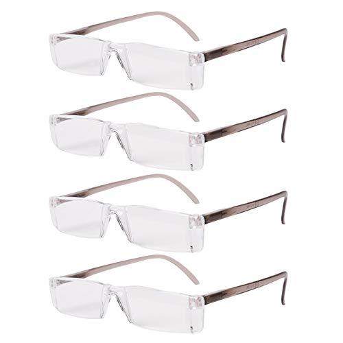 FILTRAL Lesebrille Set 4er-Pack versch. Ausführungen | Dioptrin +1.0, 1.5, 2.0, 2.5, 3.0, 3.5 | Sehhilfe Lesehilfe Brille Herren Damen (Rahmenlos/Grau, 2.5)