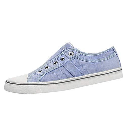 FNKDOR Schuhe Damen Canvas Loafer Schuhe Flache Schuhe Sneaker Slip-on Espadrilles Schnürsenkel Löcher Mode Wild Einzelne Schuhe Faule Schuhe Blau 38 EU