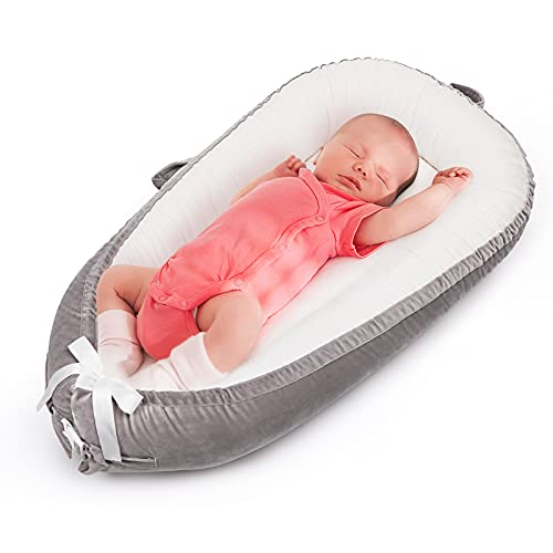 Uaugh White Baby Lounger & Infant Nest Lounger, Baby Nest for Bassinet Mattress & Baby Bedside Sleeper, Cotton Newborn Lounger for Crib, Baby Co-Sleeping, Essential Baby Shower Gifts(0-12 Month)