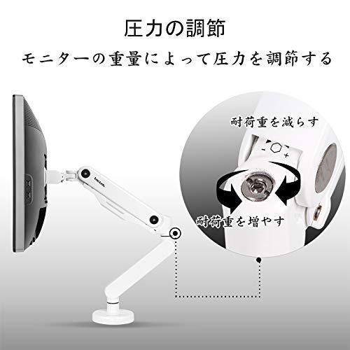 Loctekモニターアームフルモーションガス圧式液晶ディスプレイアームUSB3.0ポート付き10-30インチ対応ホワイトD8W