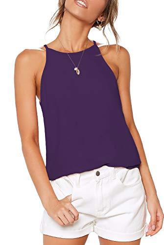 ZJCT Womens Tops Sleeveless Halter Neck Summer Casual Shirts Basic Tee Shirts Halter Cami Top Beach Tank Tops Purple L