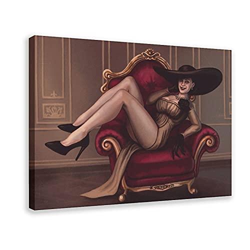 Resident Evil Village Lady Alcina Dimitrescu - Lienzo decorativo para sofá, color rojo