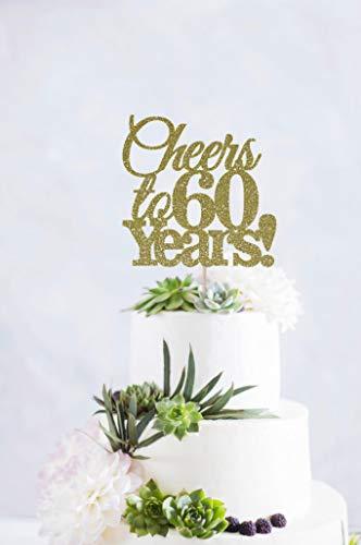 DKISEE Decoración para tarta de 60 años con texto en inglés «Cheers To 60 Years» para 60 años y 60 años