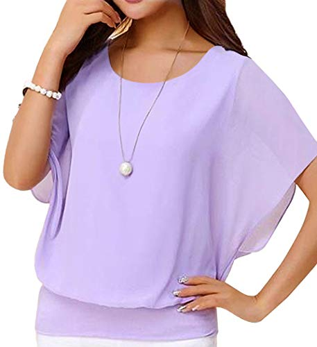Neineiwu Women's Summer Casual Loose Fit Short Sleeve Round T-Shirt Shirt Chiffon Top Blouse (Purple L)