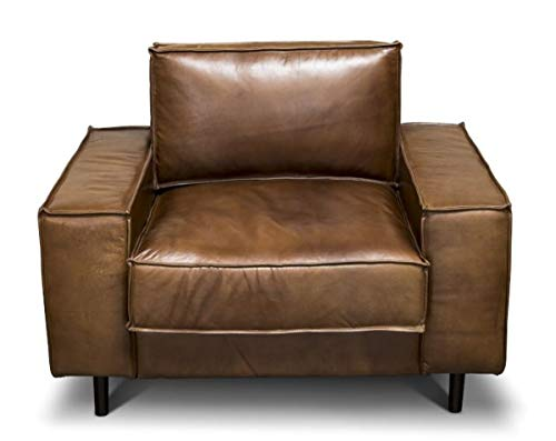 Casa Padrino Luxus Echtleder Lounge Sessel Vintage Leder Braun - Luxus Wohnzimmer Sessel Möbel Büffelleder