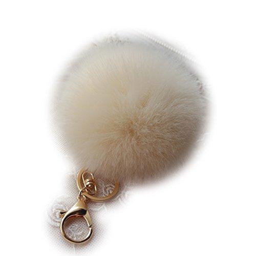 Shining crown Women Soft Fluffy Ball Key Chain Car Keyring Handbag Charm Pearl Pendant Yellow Gold Buckle