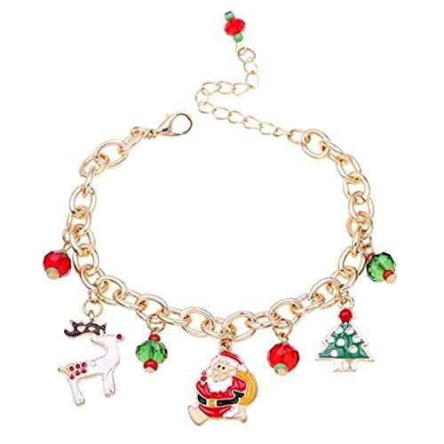 SMEJS Bonita pulsera navideña para mujeres, adolescentes, niños, para cumpleaños/Navidad/boda, para niñas, pulsera navideña para fiestas, joyería brillante, regalos elegantes y elegantes
