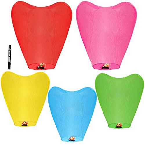 lanterne cinesi del cielo, lanterne di carta volanti, lanterne del cielo che desiderano, luci luminose volanti in stile tradizionale, usate per compleanni, matrimoni, feste(5 pcs forma del cuore)