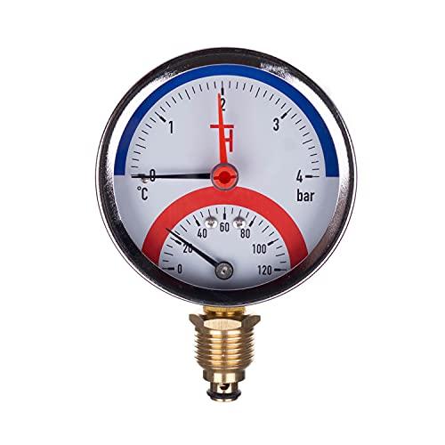 Thermis 3082 Termomanometro 4 bar connettore dal basso G1/2 (80 mm), 0-120°C