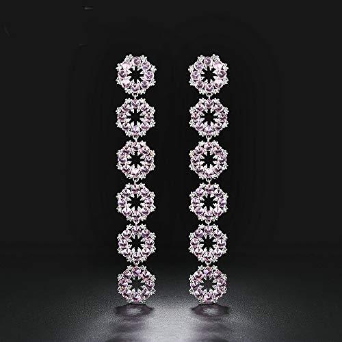 NOBRAND Pendientes Largos de Piedra Rosa para Mujer 925 Pendientes de Gota de Plata con Aguja de Plata para Mujer
