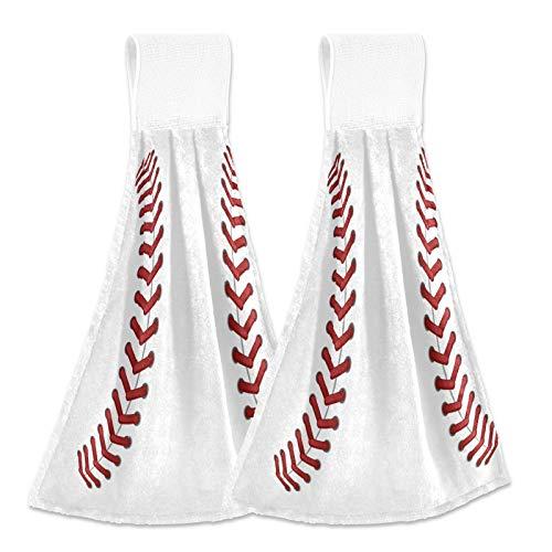 JUMBEAR Toallas de mano para colgar con impresión de béisbol deportiva, toallas de mano, suaves, absorbentes, con lazo para colgar, para cocina, baño, 30,5 x 40,7 cm, 2 unidades