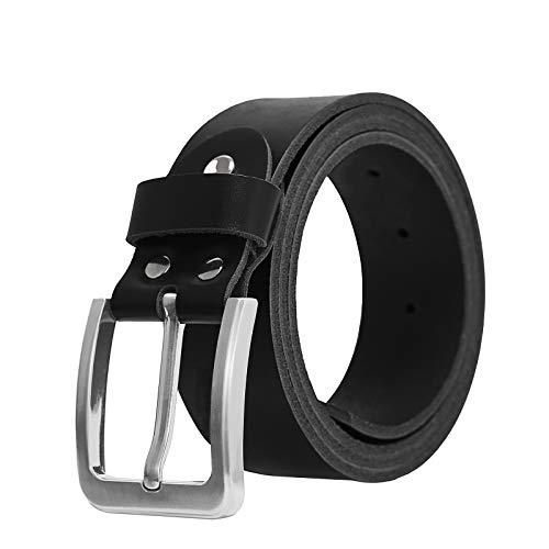 LAKIDAY Cinturón de Cuero Hombre Cinturón de jeans para Hombre Genuino Cinturón Negro 38 mm de ancho 115CM