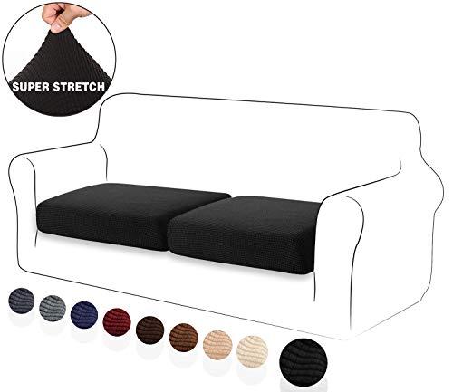 TIANSHU High Stretch Kissenbezug Sofakissen Schonbezug Möbelschutz Sofasitzbezug für Couch 1-teilige Kissenbezüge für 2 Stück (2 Stück, Schwarz)