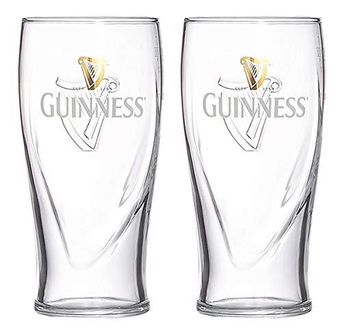 Guinness-Set aus Zwei Geprägte Schwerkraft 20-Unzen-Biergläsern mit Logo- und Harfen-Design