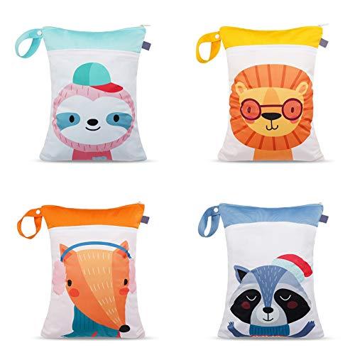 N&A Wet Bag Borsa Impermeabile Borsa per Pannolini Lavabili Sacchetto Impermeabile Bambini con Cerniera Contenere i Pannolini Organizer Porta Pannolini 4 pezzi