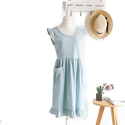 Yw-Apron kookschort van linnen, katoen, kookschort, schort voor dames en heren, verstelbaar, 33,5 x 25,6 cm, blauw