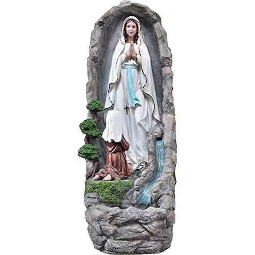Generico Madonna Lourdes con Fontana in Resina Grotta Apparizione Fiume Acqua Vera