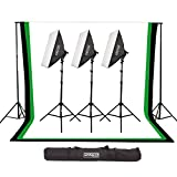 Fovitec - 6'x9' Muslin Backdrop Studio Kit with Backdrop Stands, Softboxes, & Carrying Case for Photo & Video