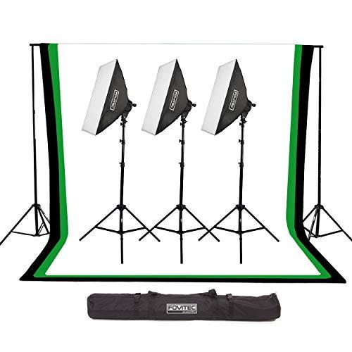 Fovitec - Kit de estudio de telón de fondo de muselina de 6 pies x 9 pulgadas con soportes para telón de fondo, cajas de luz y funda de transporte para fotos y vídeos.