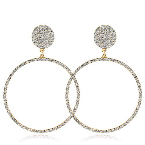 Nikgic Damen Ohrringe Matrix Edelstahl Matrix Edelstahl Geometrisches Muster Großer Ring 20g 1 Paar (Gold)
